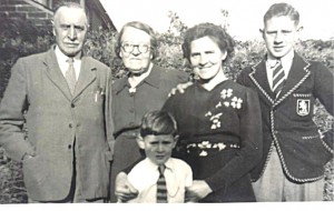 Me on far right, with younger brother, mother, and grandparents from Awbridge, 1948.